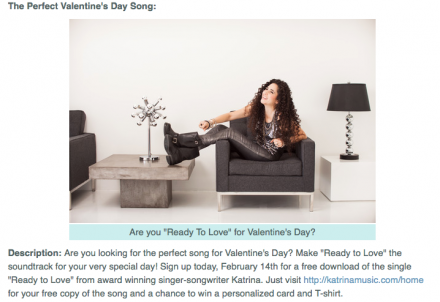 "Splash Magazine List Katrina's ""Ready To Love"" In Their Valentine's Day Entertainment Gifts 2014"